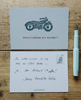 Unsere Postkarte aus Recyclingpapier mit Motorradmotiv / Motorrad / Our Postcard made of Recycled Paper with Motorbike Motif / Motorcycle