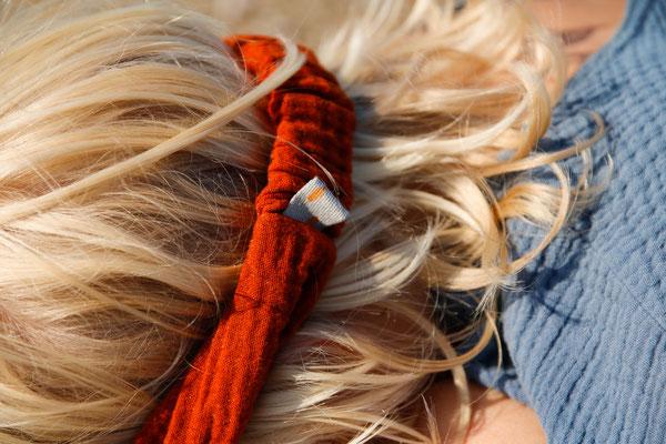 Unser handgemachtes Musselin-Haarband in Rostrot / Our Handmade Double Gauze Bandana in Rust Red / Musselin Haarband Rot / Double Gauze Bandana Red / Musselin-Stirnband Rost / Double Gauze Headband Rust / Haarband Damen Frauen / Haarband Kinder Mädchen