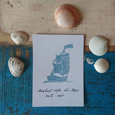 Unsere Postkarte aus Recyclingpapier mit Segelschiff-Motiv / Segelschiff / Our Postcard made of Recycled Paper with Sailing Ship Motif / Sailing Ship