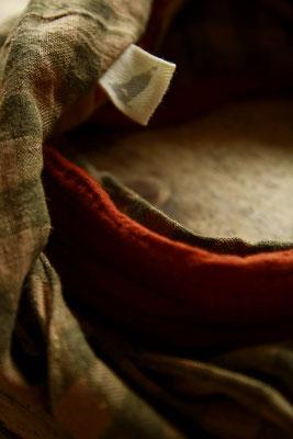 Handgemachtes Kopftuch Rot Damen Frauen Rot Rostrot Bio Baumwolle Leinen / Handmade Headscarf Red Ladies Women Red Rust Red Organic Cotton Linen / Kopftuch Bio-Musselin Frauen / Headgear Organic Double Gauze Women
