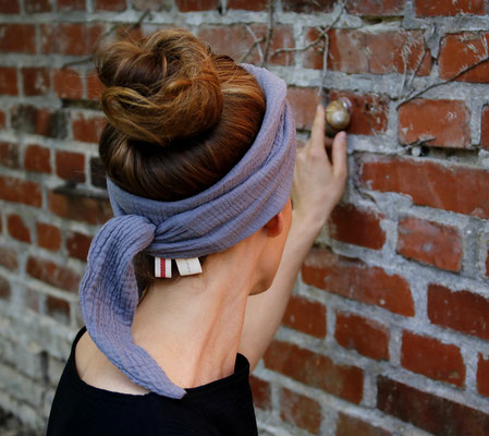 Handgemachtes Kopftuch Grau Damen Frauen Grau Steingrau Baumwolle / Handmade Headscarf Grey Gray Ladies Women Gray Stonegrey Cotton / Kopftuch Musselin Frauen / Headgear Double Gauze Women