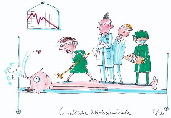 Christliche Nächstenliebe. Karikatur. 2021