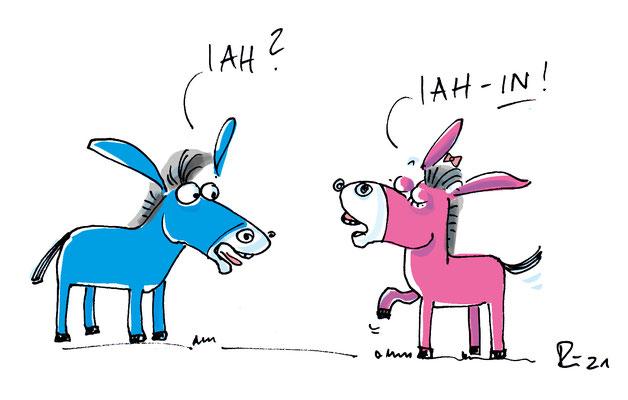 Gendergerechtes Sprechen. Karikatur.
