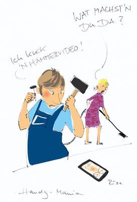 Handy-Mania, Hämmervideo. Karikatur