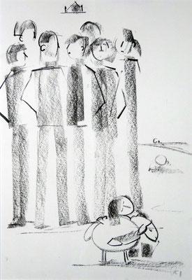 König David . 2012 . 42x60cm . Presskohle auf Karton . 149,- €