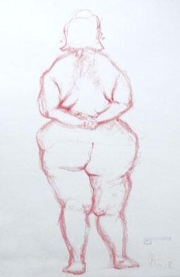 Weiblicher Akt I korpulent, stehend - Studie . 2012 . Pastellkreide auf Papier . 40cmx60cm . 149,-€