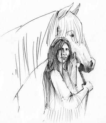 Indianerin Lozen mit Pferd . 2014 . Fineliner