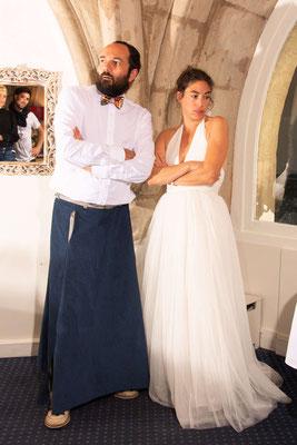 Jupe longue pour homme en velours bleu foncé. Se marier en jupe messieurs, c'est possible et c'est sur mesure!