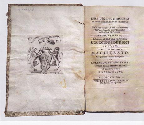 Fabbri: Dell'uso del Mercurio, Köln, 1702