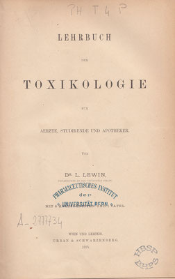 L. Lewin: Toxikologie (Sammlung/Collection HBSP).
