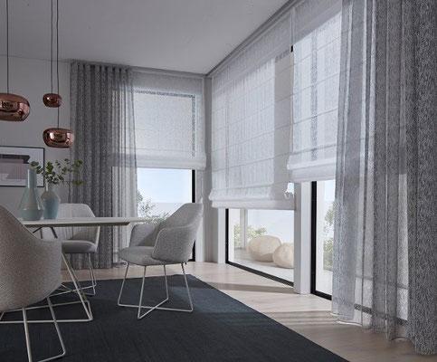 Horizon Raffrollo mit Querstäben - kombiniert mit fliessenden Wellenvorhang Dekoration