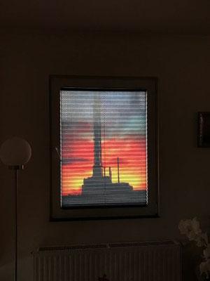 Individueller Druck auf Plissee... der Stadtwerke Turm aus Duisburg...