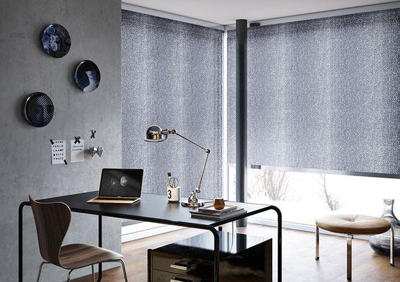 Meridian Rollos Citylight mit Designblende in Edelstahl für das Home Office
