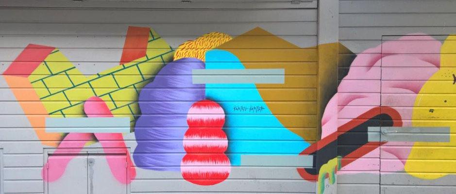 Linker Graffiti-Ausschnitt am Naschmarkt Wien / GRIP FACE. © 2018 Reinhard A. Sudy