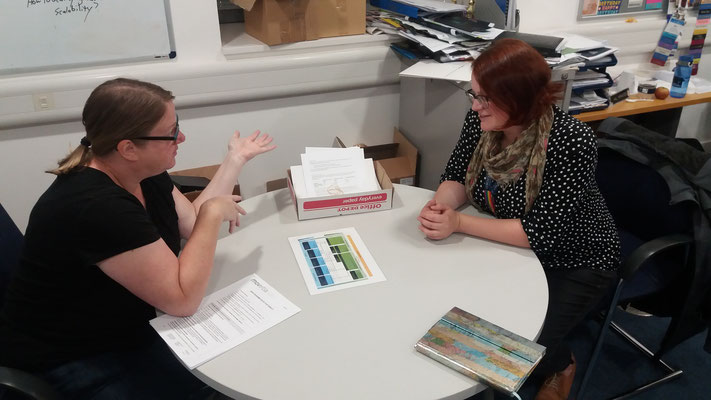 Nina Grossenbacher (Project Manager) explains the Swiss education system to Rebecca Hutchins (Supervisor at Said Business School)