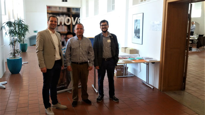 Kick-Off 2019: Christophe Bettin (Head of Division at movetia), K.-D. Papke (Incoming 2019, Dominik Sievi (Mobility-ID Projectmanager)