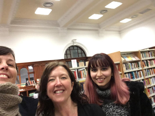 Susanne Brügger (Outgoing 2019), Wendy Kirk, Selina O'Kerwin (Outgoin 2019). Susanne visit Glasgow Womens Library