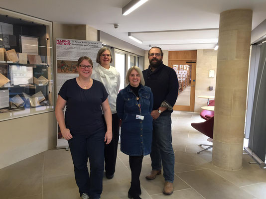 Nina Grossenbacher  (Project Manager), Britta Biedermann (Project Manager), Anne Chesher (Deputy Librarian), Daryl Green (Fellow Librarian)  at the Magdalen College Library