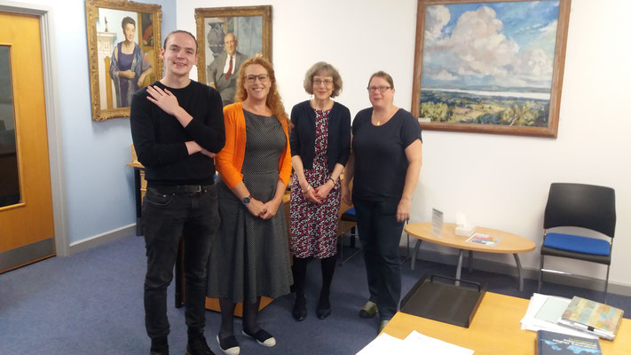 Adrian Martin (Outgoing 2019) Kate Robinson (University Librarian), Hannah South (Head of Library Academic Services), Nina Grossenbacher (Project Manager) at the Library of the University of Bath