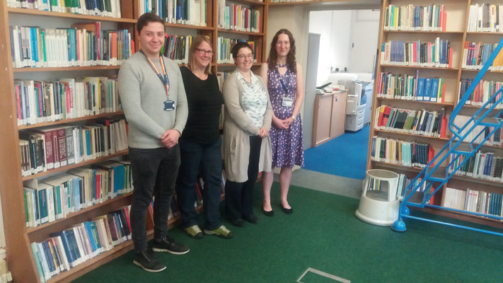 Yannik Santos (Outgoing 2019), Nina Grossenbacher (Project Manager), Katherine Steiner (Assistant Librarian), Catherine Scutt (Education Librarian & Subject Consultant)