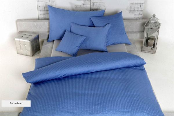 Uni-Seersucker-Satin blau
