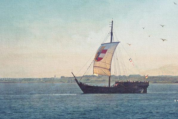 das Piratenschiff ist ein Nachbau einer Poeler Kogge