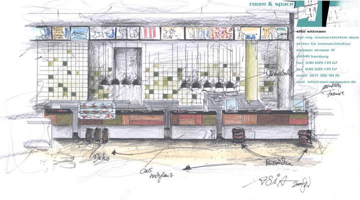 """Entwurfszeichnung Perspektive Foodcourt, Abschnitt """"Asia"""""""