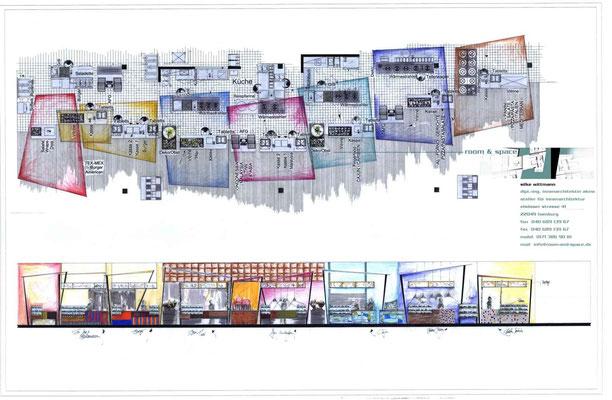 """Entwurfszeichnung Foodcourt, Grundriss und Ansicht aller Themen: """"American"""", """"Asia"""", """"Aktion"""" und """"Italian"""""""