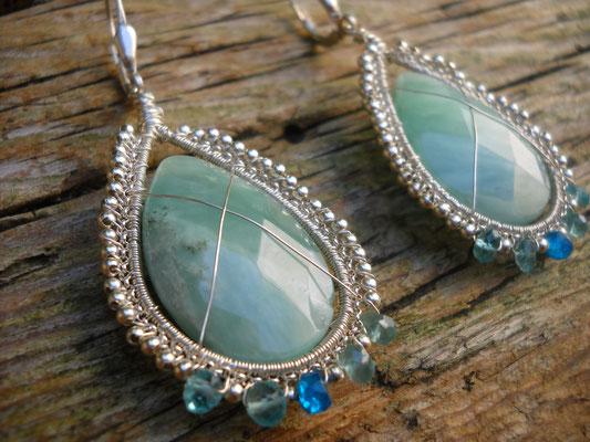 boucles d'oreille en argent avec pierres naturelles