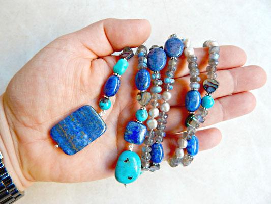 sautoir collier lariat en pierres naturelles