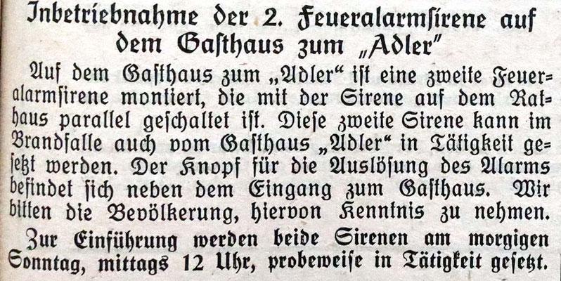 21.8.1954 2. Feueralarmsirene auf dem Adler