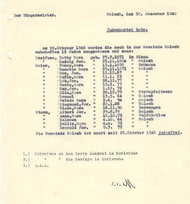 Die Gemeinde Malsch ist somit seit 22. Oktober 1940 judenfrei