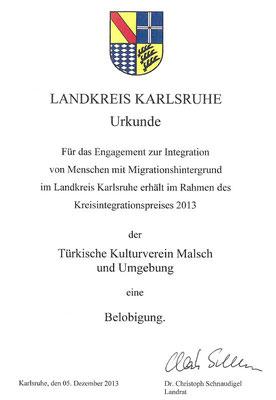 2013 Belobigung durch Landrat für Integrationsarbeit