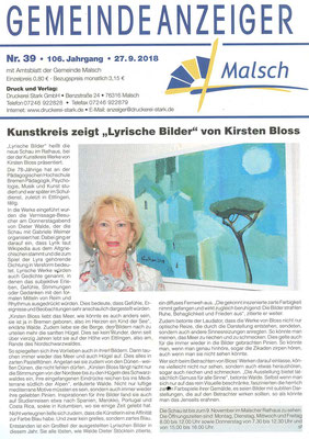 September 2018 Ausstellung Kirsten Bloss