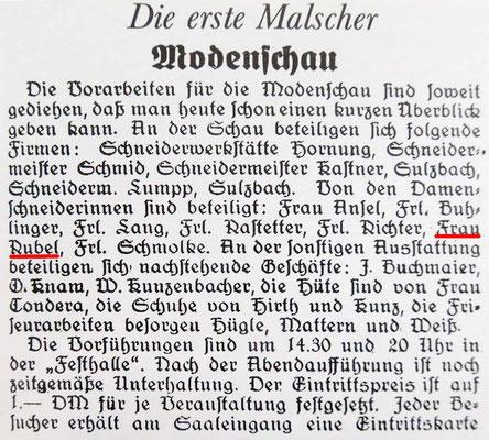 Modenschau Festhalle Anzeige 1950-Wildemann-Leben-Seite 233