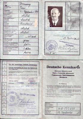 Kennkarte Pius Hornung