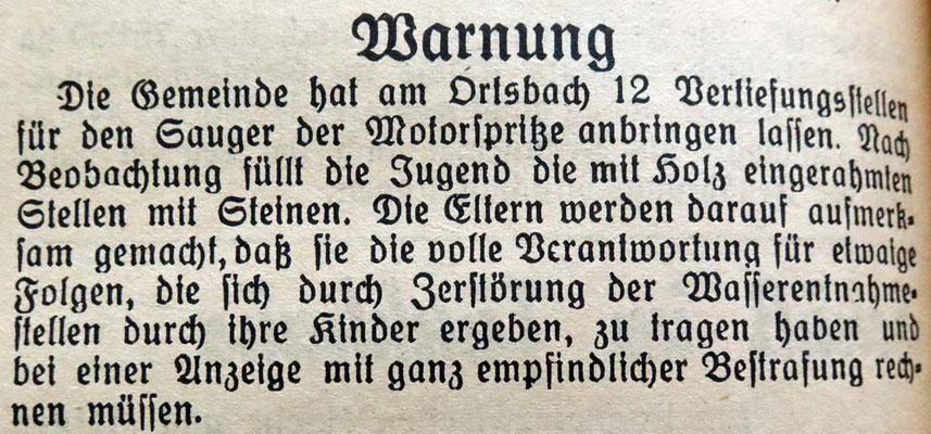 9.9.1939 Vertiefungsstellen im Bach für Wasserentnahme