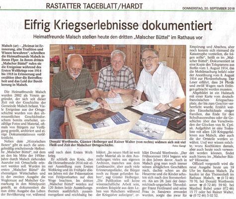 Vorankündigung BT Rastatter Tagblatt