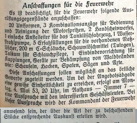 30.4.1953 Anschaffungen