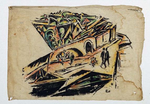 Schindler 1918. Architekturansicht mit Figuren. Handkol. Holzschnitt