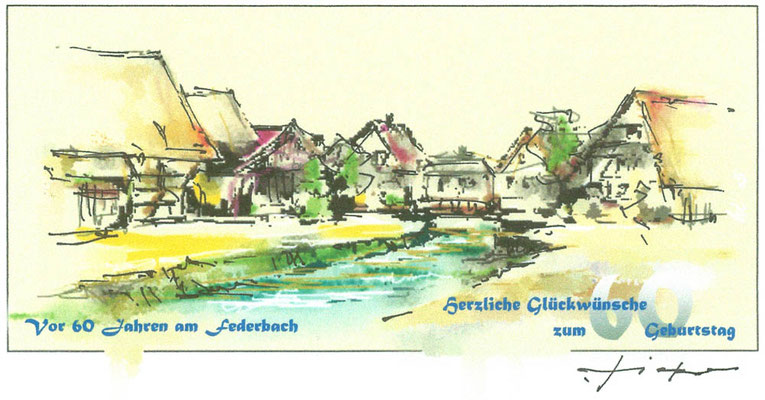 Geburtstagskarte Federbach
