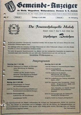 6.7.1962 75 Jahre Feuerwehrkapelle
