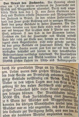 24.8.1927 Brand Fuchseck Haus Eiermann