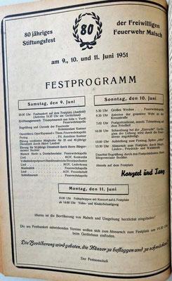 9.6.1951 80 Jahre Feuerwehr Programm