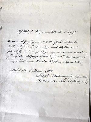 Offiziellen Antragsschreibens von 1894