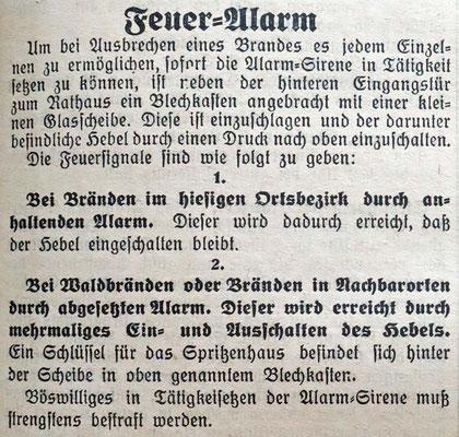 16.4.1930 Feueralarm Pflichten