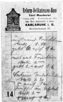 Rechnung, Wichtig, oben steht Reformhaus und nicht Mauterer an erster Stelle. Ralf Mauterer war es sehr wichtig Reformhaus als erstes zu bennen.