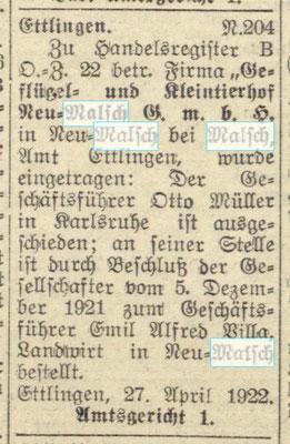 Geflügelhof Neumalsch - Alfred Villa 1922-05-08 - BLB