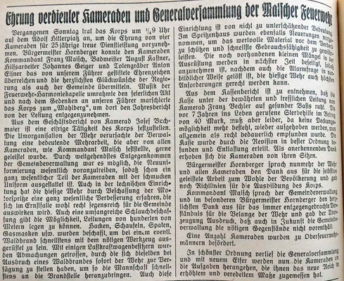 10.8.1938 Generalversammlung und Ehrungen