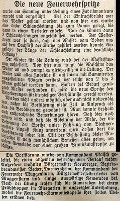 28.7.1937 Die neue Feuerwehrspritze Vorführung